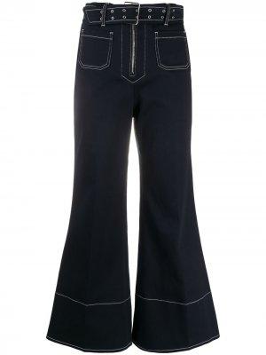 Укороченные джинсы широкого кроя Miu. Цвет: синий