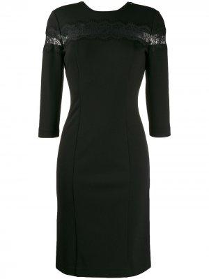 Платье с кружевной вставкой TWINSET. Цвет: черный