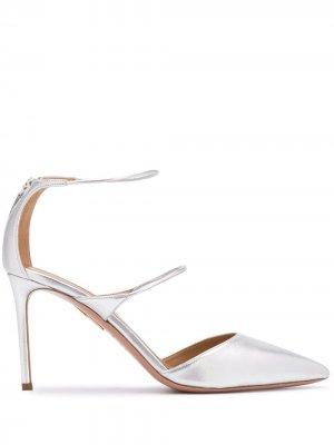 Туфли с ремешками и заостренным носком Aquazzura. Цвет: серебристый