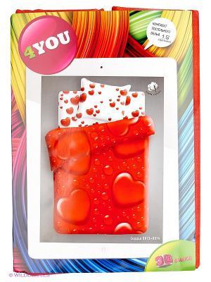 Комплект постельного белья 1,5 бязь 3D Сердца 4you. Цвет: красный
