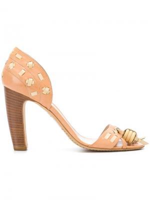 Босоножки на наборном каблуке Céline Vintage. Цвет: коричневый