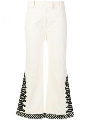 Расклешенные брюки Tory Burch. Цвет: белый