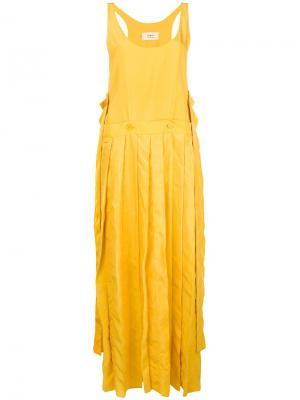 Асимметричное плиссированное платье Ports 1961. Цвет: желтый