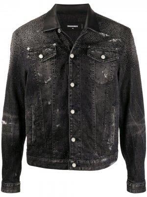 Джинсовая куртка с кристаллами Dsquared2. Цвет: черный