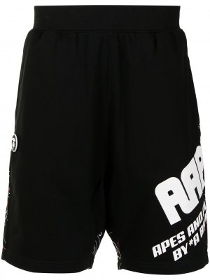 Спортивные шорты с логотипом AAPE BY *A BATHING APE®. Цвет: черный