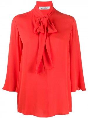 Блузка с короткими рукавами и бантом Valentino. Цвет: оранжевый