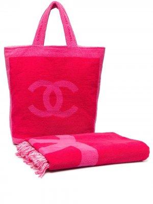 Комплект из пляжной сумки и полотенца Chanel Pre-Owned. Цвет: розовый