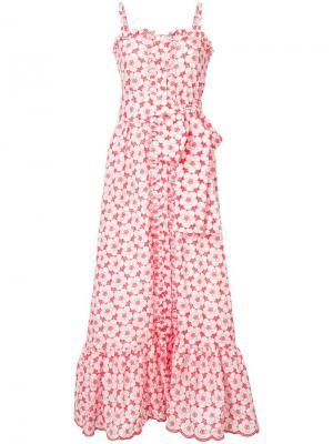 Длинное летнее платье с цветочным принтом Lisa Marie Fernandez. Цвет: красный