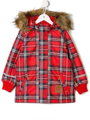 Куртка с капюшоном в клетку Mini Rodini. Цвет: красный