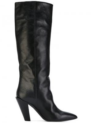 Сапоги со скошенным каблуком A.F.Vandevorst. Цвет: черный