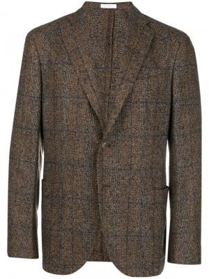 Checked single-breasted blazer Boglioli. Цвет: коричневый