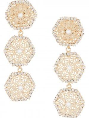 Серьги Flipper с кристаллами Rosantica. Цвет: золотистый