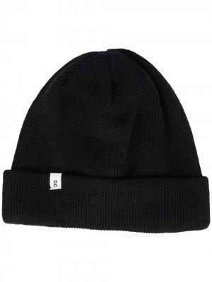 Вязаная шапка бини ON Running. Цвет: черный
