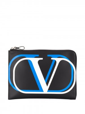 Клатч с логотипом VLogo Valentino Garavani. Цвет: черный