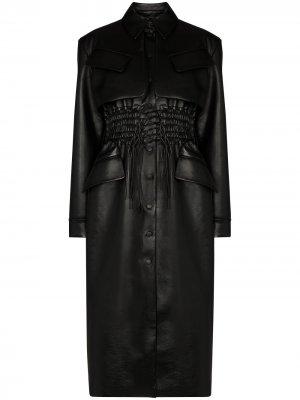 Пальто из искусственной кожи со сборками Materiel. Цвет: черный