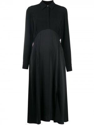 Расклешенное платье-рубашка Victoria Beckham. Цвет: черный