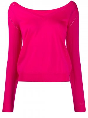 Джемпер тонкой вязки с V-образным вырезом P.A.R.O.S.H.. Цвет: розовый