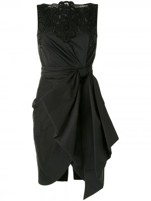 Драпированное платье с кружевной вставкой Zuhair Murad. Цвет: черный