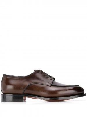 Туфли дерби на шнуровке Santoni. Цвет: коричневый