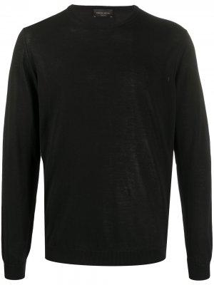 Пуловер с круглым вырезом Roberto Collina. Цвет: черный
