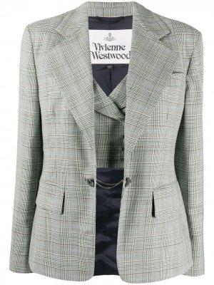 Приталенный блейзер в клетку Vivienne Westwood. Цвет: белый