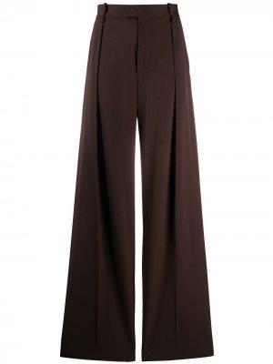 Строгие брюки широкого кроя Bottega Veneta. Цвет: коричневый