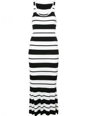 Ребристое вязаное платье в полоску без рукавов Jason Wu Collection. Цвет: белый