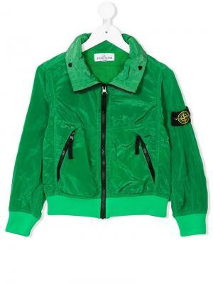 Куртка на молнии Stone Island Junior. Цвет: зеленый