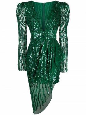 Платье с драпировкой и пайетками Zuhair Murad. Цвет: зеленый