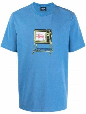 Футболка Rolling TV с графичным принтом Stussy. Цвет: синий