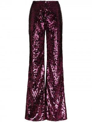 Расклешенные брюки с пайетками Halpern. Цвет: розовый