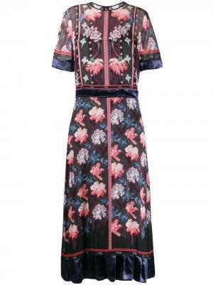 Платье Tigerlilly с оборками на подоле Liberty London. Цвет: черный
