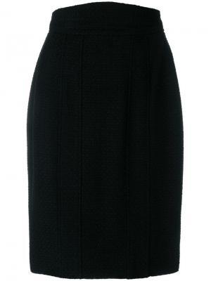 Твидовая юбка прямого кроя Chanel Vintage. Цвет: черный