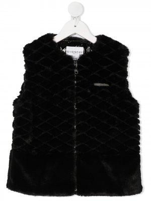 Жилет из искусственного меха Givenchy Kids. Цвет: черный