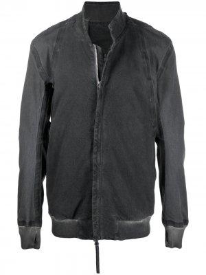 Джинсовая куртка с эффектом потертости Boris Bidjan Saberi. Цвет: серый