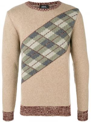 Трикотажный свитер с узором в ромб A.P.C.. Цвет: коричневый