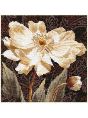 Набор для вышивания Белые цветы: В объятиях света  25х25 см Алиса. Цвет: бежевый, белый, коричневый, светло-коричневый, светло-серый, серо-коричневый, серый, темно-коричневый, темно-синий