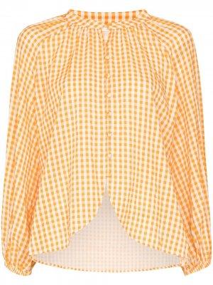Клетчатая рубашка с пышными рукавами Peony. Цвет: оранжевый