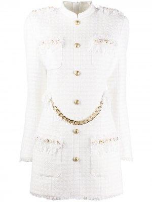 Короткое твидовое платье Balmain. Цвет: белый