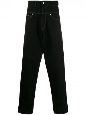 Джинсы широкого кроя с низким шаговым швом Versace Jeans Couture. Цвет: черный