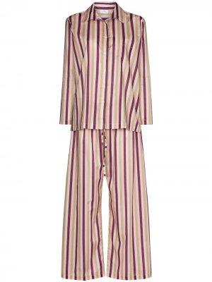 Пижама в полоску Pour Les Femmes. Цвет: фиолетовый