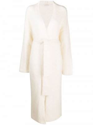 Кардиган-пальто с поясом 12 STOREEZ. Цвет: белый