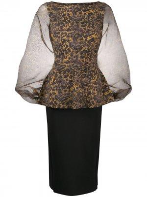 Платье мини Hasana со змеиным принтом Le Petite Robe Di Chiara Boni. Цвет: черный