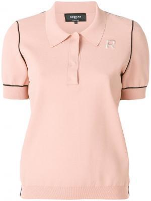 Рубашка-поло с контрастной окантовкой Rochas. Цвет: нейтральные цвета