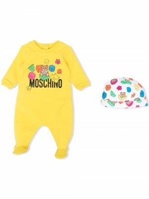 Комбинезон для новорожденного с логотипом Moschino Kids. Цвет: желтый