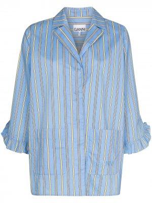 Пижамная рубашка в полоску GANNI. Цвет: синий