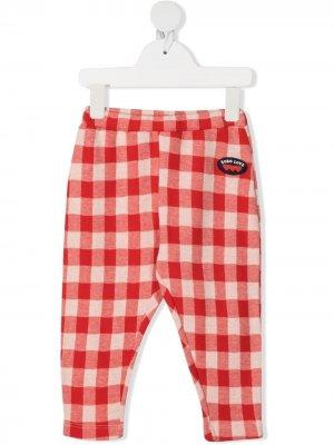 Клетчатые брюки из органического хлопка Bobo Choses. Цвет: красный