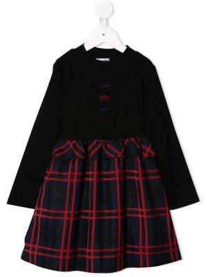 Платье с подолом в клетку и блестками Familiar. Цвет: черный