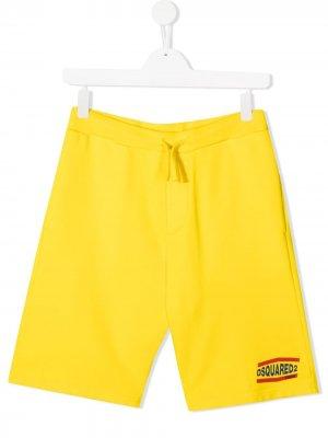 Спортивные шорты с логотипом Dsquared2 Kids. Цвет: желтый