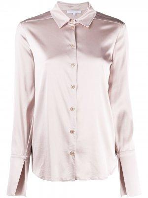 Атласная рубашка с разрезами на манжетах Patrizia Pepe. Цвет: розовый